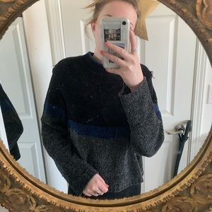grey/blue & black striped knitted sweater